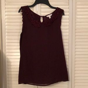Lauren Conrad Purple/Maroon Blouse with lace